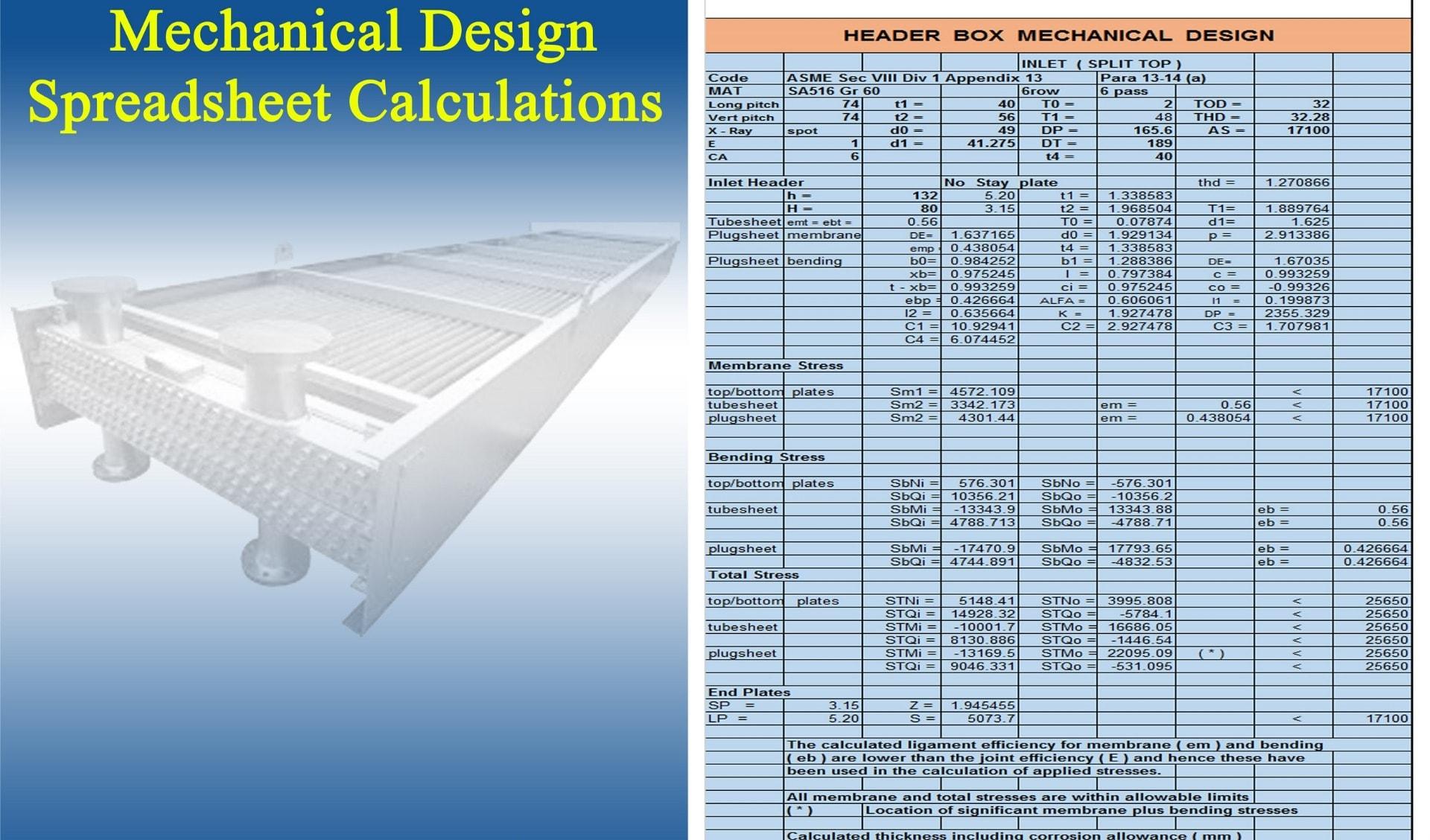 Header Box Mechanical Design, mechanical design calculation