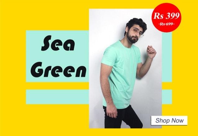 Buy online solid sea green t-shirt for men On Pentaaz