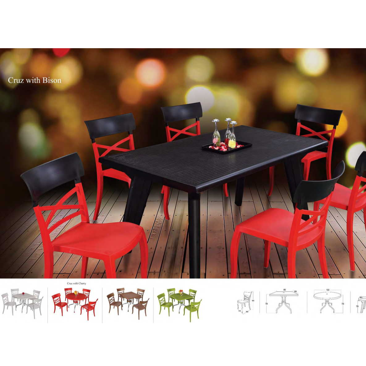Supreme Cruz Chairs with Supreme Bison Table. Best Supreme Plastic Chairs and Tables. Supreme Furniture Dealer in Guwahati-Furniture Gallery.