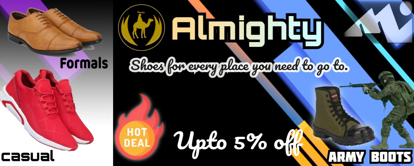 Buy Almighty shoes from minzoindia casual shoes, army boots, formal shoes, It is an Indian brand known for quality shoes,  boots, shoes, casual shoes, shoe dealers, wholesalers, online seller, sandals, sock shoes, sports shoes,