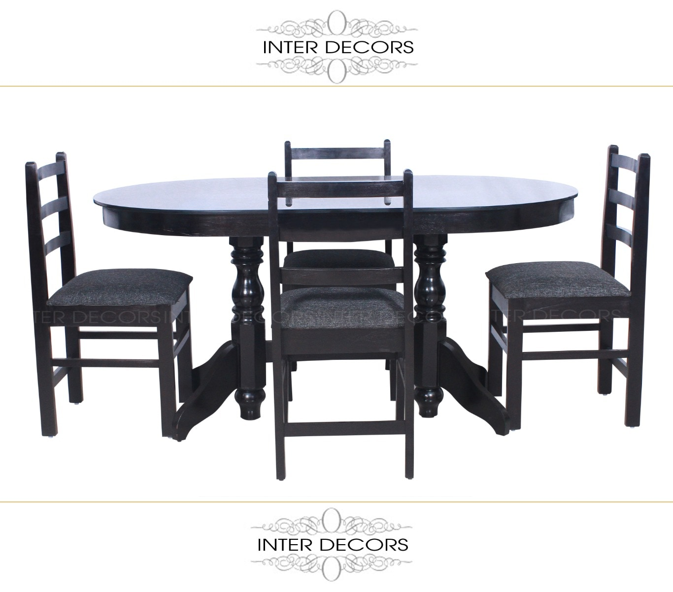 Wooden dining set with chairs and table