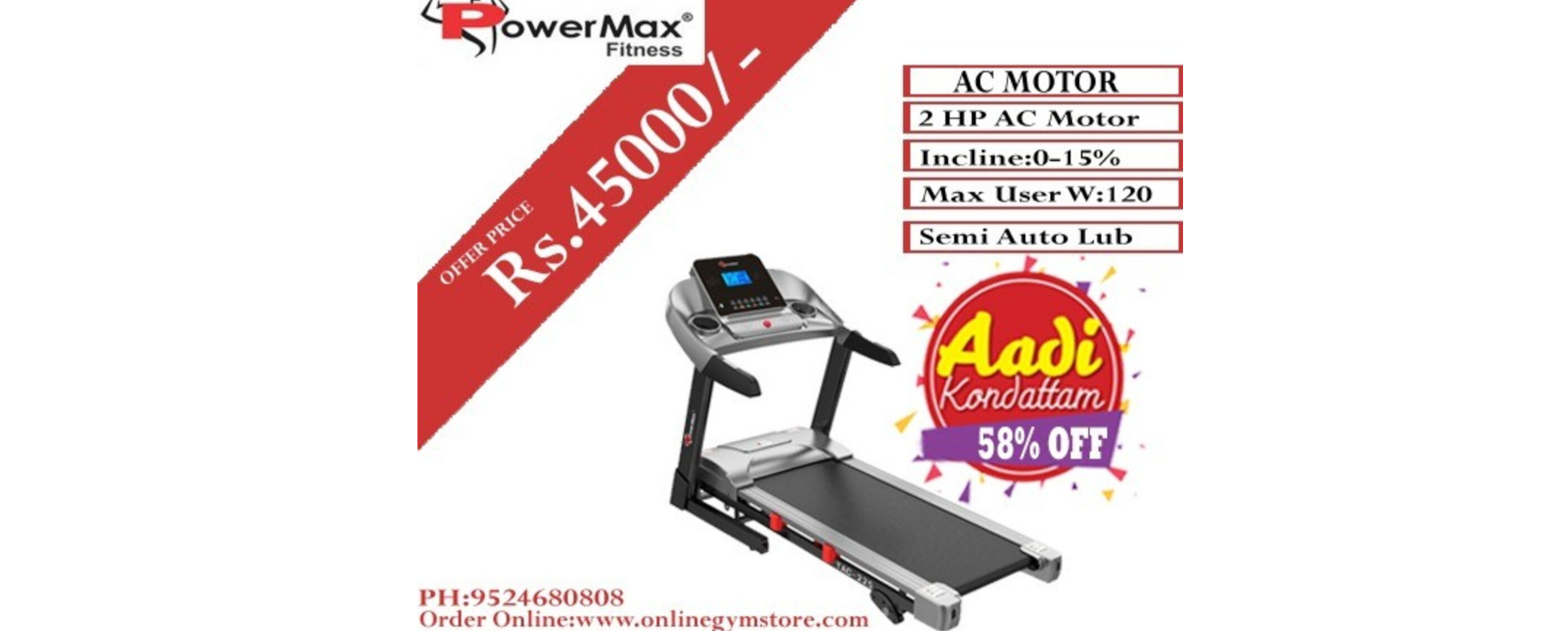 TAC225 AC MOTOR TREADMILL POWERMAX TREADMILL TAC-225 AC MOTORIZED TREADMILL WITH MP3 AND IPAD HOLDER Bring home the all-new TAC-225 AC MOTORIZED TREADMILL brought to you by PowerMax for your home gym. Possessing a top speed of 14 km per hour and starting from 0.8 km per hour powered by a 2.0 Horse Power AC motor makes this equipment very suitable for cardio and also saves energy. This TAC-225 AC MOTORIZED TREADMILL meets modern features as it has a 5-inch LCD blue screen where parameters such as the time, speed, distance traveled, calories, pulse, etc can be monitored. Also add ons such as USB, AUX, Mp3, iPad holder are also present on it. The benefits of running on this treadmill are quite a lot. A high amount of calorie burns, outside weather not hampering workouts, and technically very safe than running outside the house.  QUALITY AND ATTRACTION. The stylish and elegant look makes the treadmill even more attractive. The ergonomic design makes the user comfortable in operating it and enjoy during the running time. It falls in an affordable range which makes it even more attractive to people. The diamond wave running belt and the anti-bacterial coat finish make it stylish and hygienic respectively.  EASY TO USE The TAC-225 AC MOTORIZED TREADMILL is very user-friendly, from walking to jogging to normal running, step by step, allowing you to better adapt to the running state. You can control the speed and stop the brake at any time on the LCD control panel. It also has a semi-automated lubrication system. It has a 0-15% auto inclination range which can be operated with ease and hence can improve the resistance needed for the workout.  MAXIMUM USER WEIGHT AND RUNNING SURFACE The maximum user weight capacity is 120kg. The running surface has a certain thickness and has been made in such a way that the entire workout remains comfortable. The space provided for running is 49.2 inches lengthwise and 16.9 inches breadthwise. Precision-machined, steel crowned rollers keep t