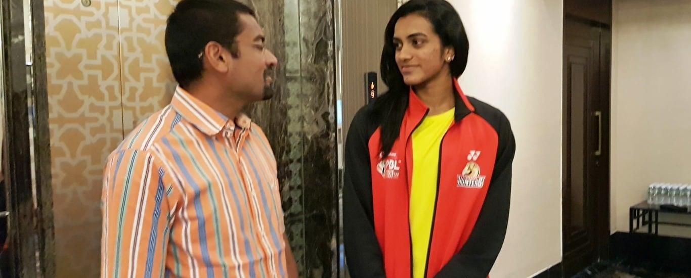 Dr Abhishek Kalantri with world champion PV Sindhu.